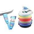 Kabl USB A - USB Mikro Xwave 021073 Flat, LED Smile, 1m, Crvena